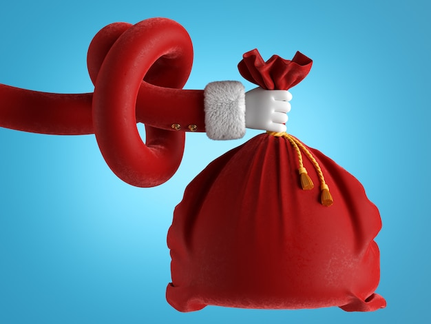 Santa claus tangled hand wears white glove holds red bag.