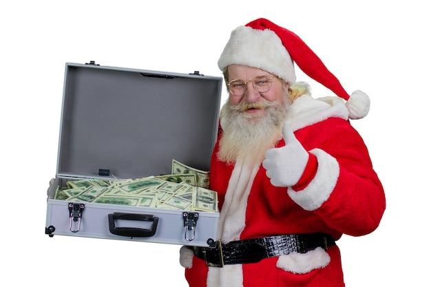 Дед мороз с футляром ста долларов.