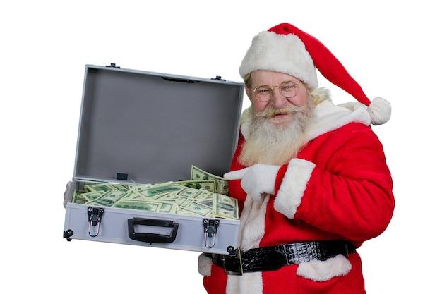 Дед мороз с полным ящиком денег.