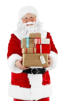 Santa claus with gift boxes isolated on white background
