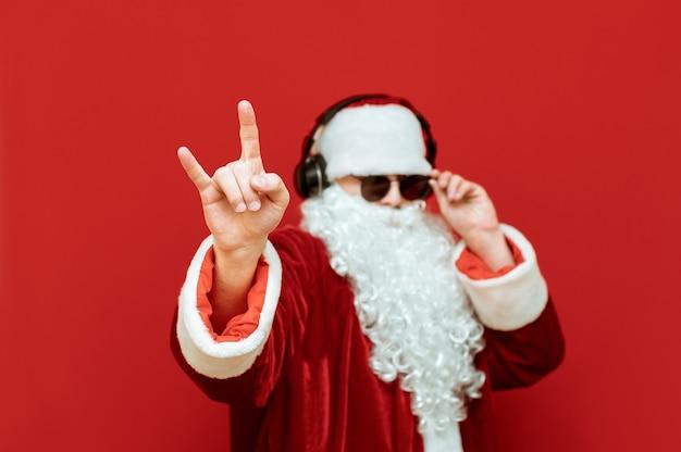 헤드폰으로 산타 클로스