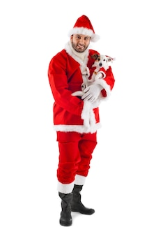 Santa claus with his little dog on white wall