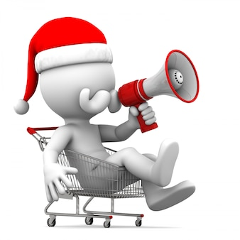 Santa claus with megaphone in shopping cart