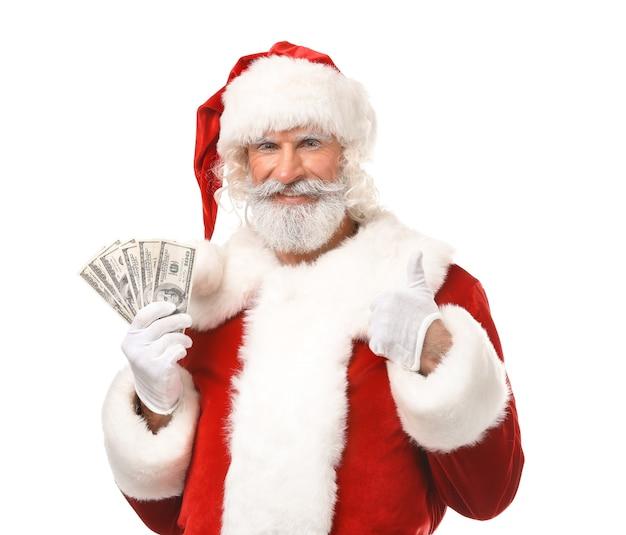 Santa claus with money on white