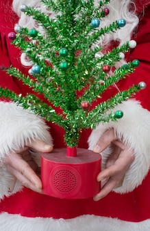 Santa clause holds christmas tree christmas tree in santas hands holiday concept
