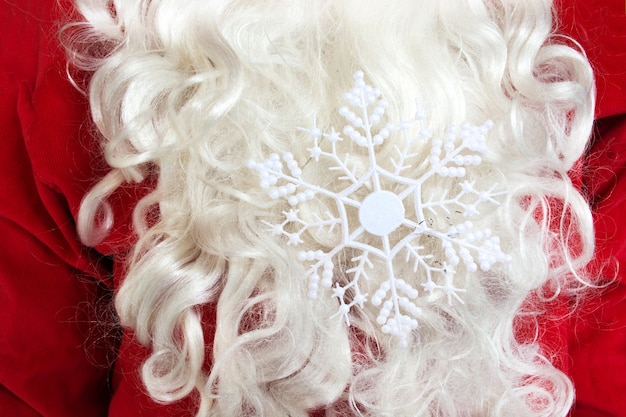 Santa clauses beard with snowflake in it christmas theme concept