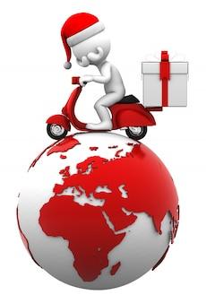 サンタが地球の上にスクーターを運転します。配送コンセプト