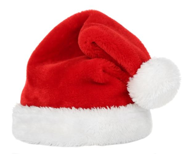 白で隔離のサンタ帽子