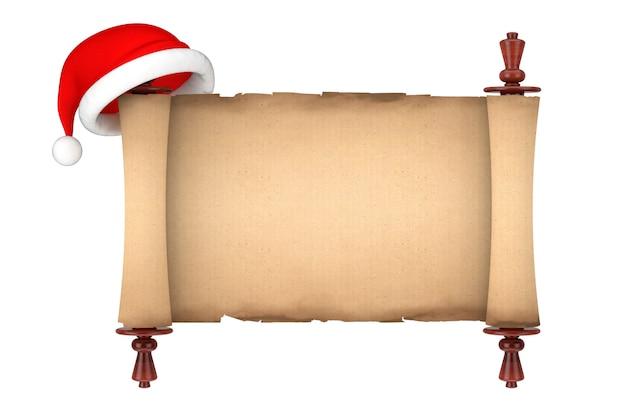 Шляпа санты над макетом пергамента свитка пустой старой бумаги на белой предпосылке. 3d рендеринг