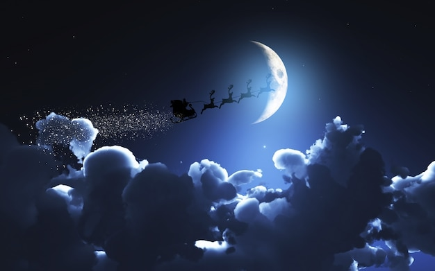 Santa and his sleigh flying in a moonlit sky
