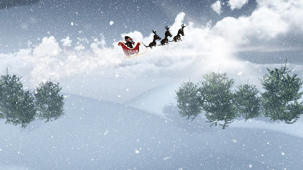 Santa and his sleigh flying over a snowy landscape