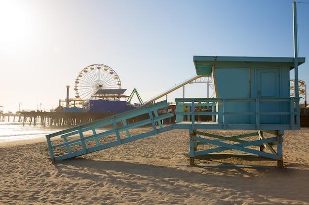 Santa monica beach lifeguard tower in california