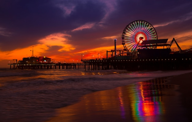 Santa monica california sunset on pier ferrys wheel