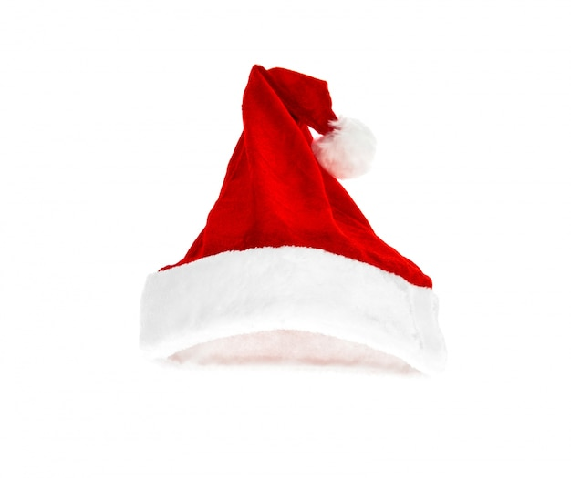산타 빨간 모자 흰색 배경에 고립