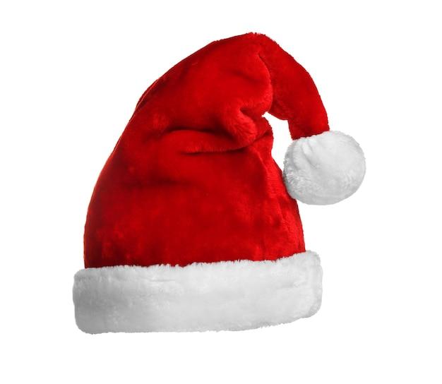 白で隔離のサンタ赤い帽子