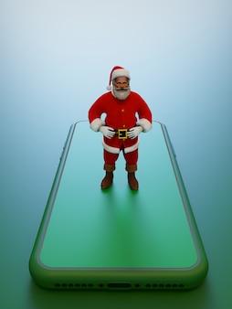 Santa's 3d illustration on the smartphonegreen tones 3d rendering