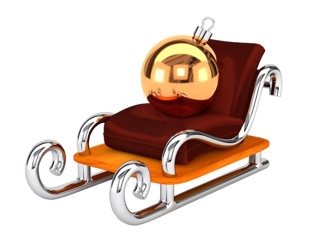 Santa's sleigh with a christmas toy isolated on white background. the concept festive gift delivery. 3d illustration.