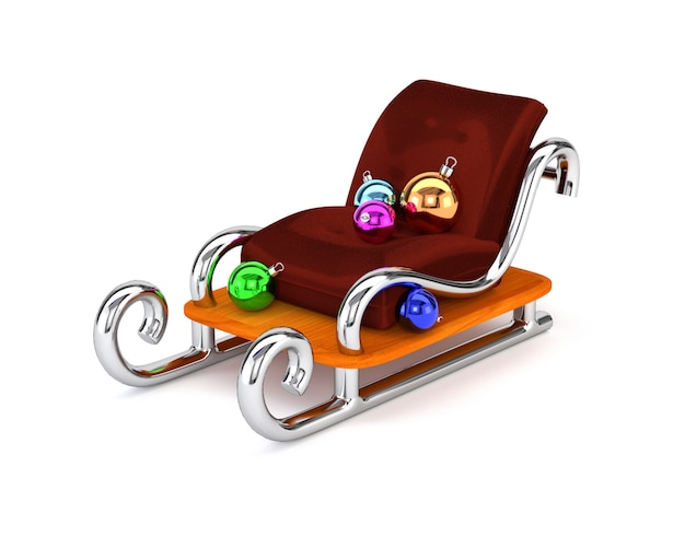 Santa's sleigh with multicolored christmas balls isolated on a white background. the concept festive gift delivery. 3d illustration.