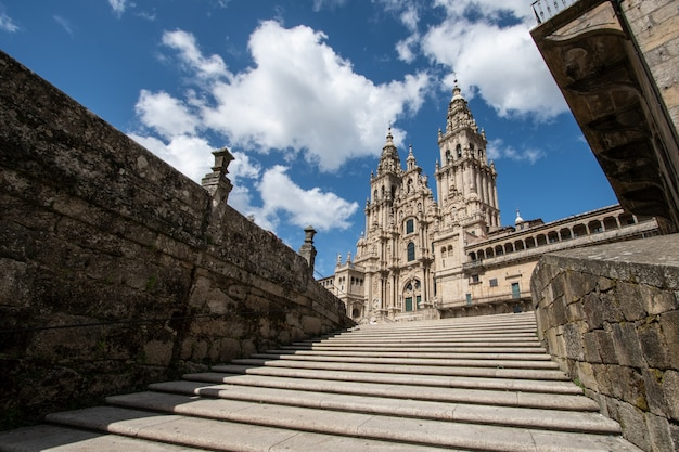 Santiago de compostela cathedral. low angle view