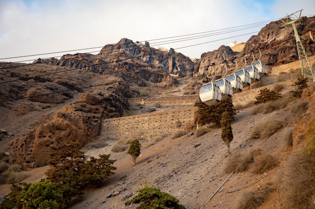 The santorini cable car connects the port with the town of thera in santorini island, greece