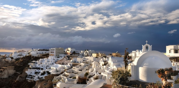 Santorini island in greece, oia village, day after the storm
