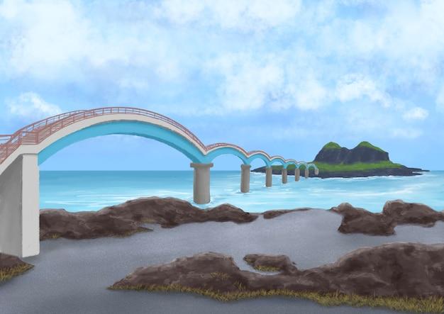 대만 타이둥의 아치교가 있는 sanxiantai 섬 모래와 바위 해변