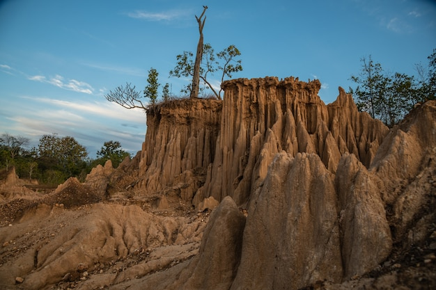 The sao din site displays an intriguing of eroded soil pillars in nan, thailand
