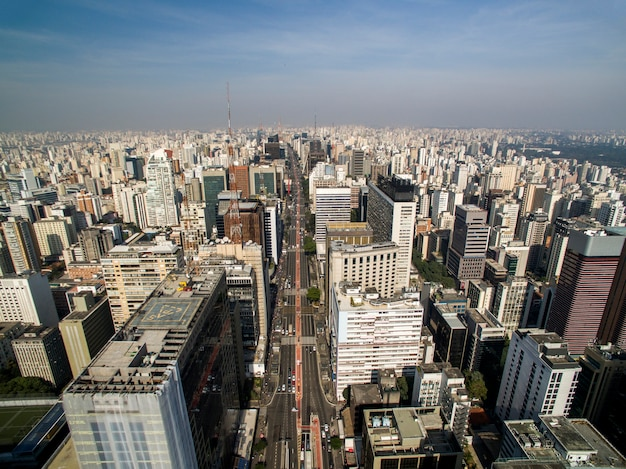 Sao paulo, brazil. aerial view on paulista avenue, in sao paulo city
