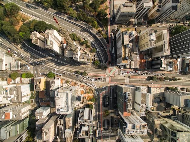 Sao paulo, brazil. aerial view on rebolcas avenue and consolacao, in sao paulo city