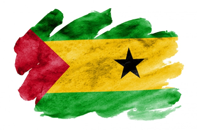 Sao tome and principe flag is depicted in liquid watercolor style isolated on white