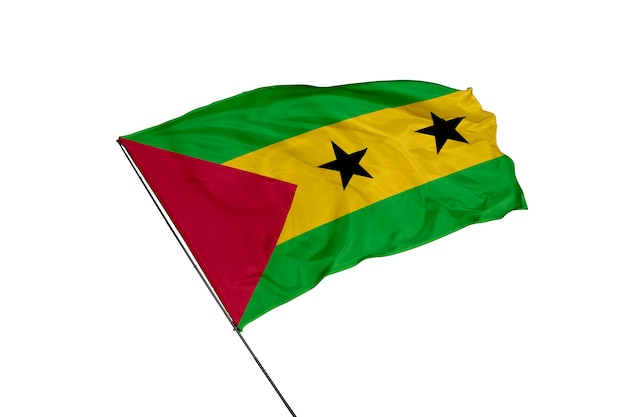 Sao tome and principe flag on a white background