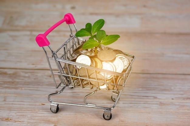 Деревце из монет в тележке супермаркета бизнес-идеи, позволяющие сэкономить деньги и экономический рост.