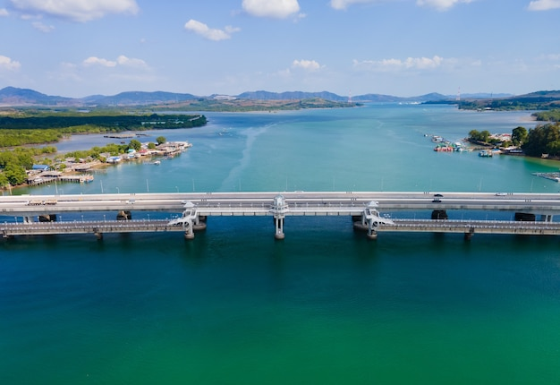 Sarasin bridge phuket thailand. aerial view scene of sarasin bridge high way road transportation on sea water
