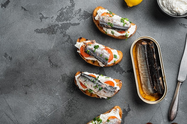 Sardines sandwich with smoked fish set, on gray stone table background, top view flat lay, with copy space for text
