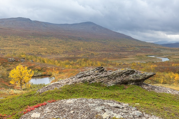 Sarek national park in lapland from the sky