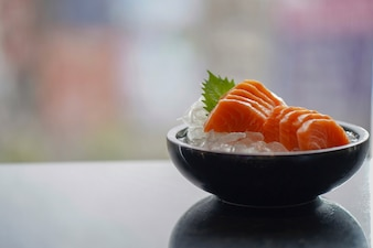 刺身鮭セット、生鮮魚、日本食、セレクティブフォーカス