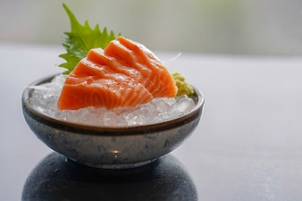 Sashimi salmon set, raw fish, japanese food, Selective focus