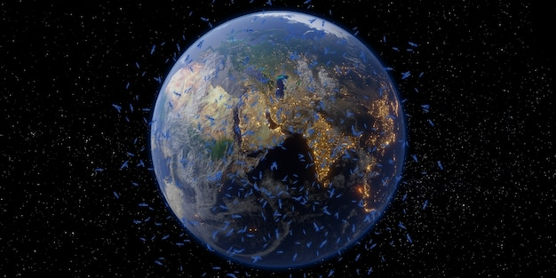 위성 및 통신 지구와 우주 은하수 배경 3d 그림