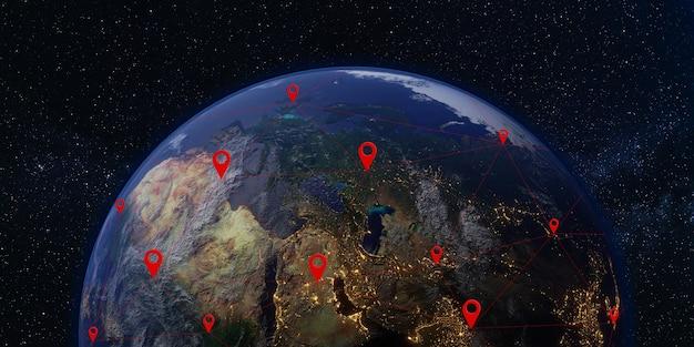 위성 및 통신 지구와 우주 은하수 은하 배경 3d 그림