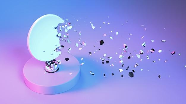 Спутниковая антенна разбита на мелкие части в неоновом освещении, 3d иллюстрация