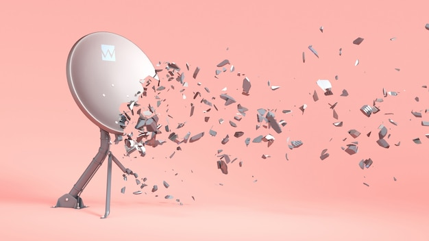 Satellite antenna on pink, broken into small parts, 3d illustration