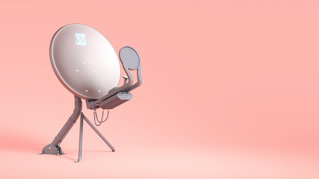Satellite antenna on pink close-up, 3d illustration
