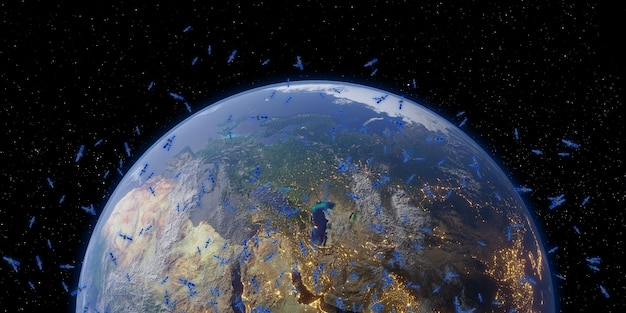 Satellite and communications earth and space milky way galaxy background 3d illustration