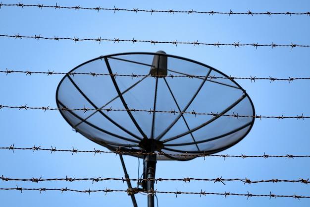 Satellite dish behind barbed wire.