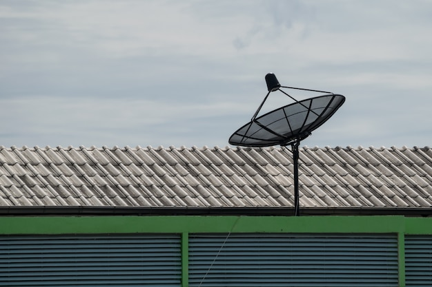 Satellite dish on the roof of the house