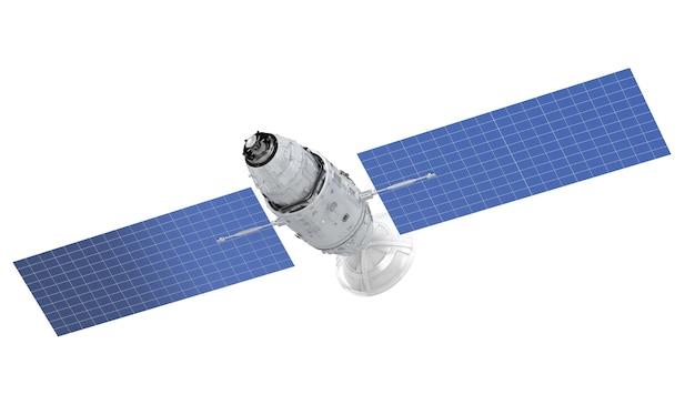 Спутниковая тарелка с антенной на белом фоне