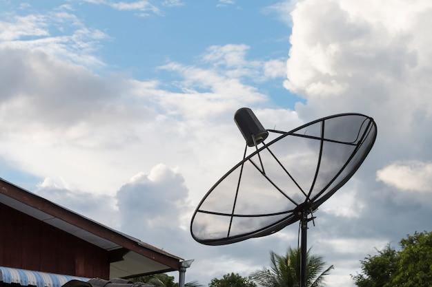 Satellite dish with sky