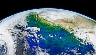 Satellite image of Earth. Original from NASA. Digitally enhanced by rawpixel. | free image by rawpix