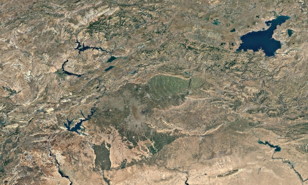 Satellite top view texture over van lake