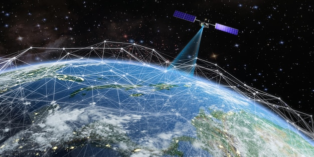 Satellite transmits a signal to earth